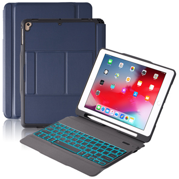 USA Keyboard For iPad Air 1/ 2 iPad Pro 9.7/ iPad 9.7 2017 2018 Bluetooth Keyboard 7 Colors Backlit with Leather Case Keyboard