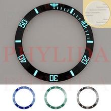 HOT 38mm czarny niebieski zielony Super Luminous ceramiczna ramka szkiełka zegarka wkładka zegarek pierścionek Bezel Fit Sub nurków SKX007/009 zegarek w pełni Lumed