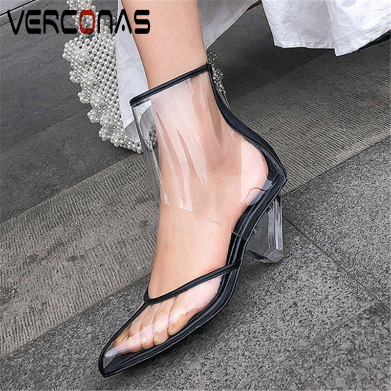 VERCONAS 2020 Fashion Nigth Club Shoes Woman Boots Woman Pumps Genuine Leather New Arrival Pointed Toe Strange Heels Shoes Woman