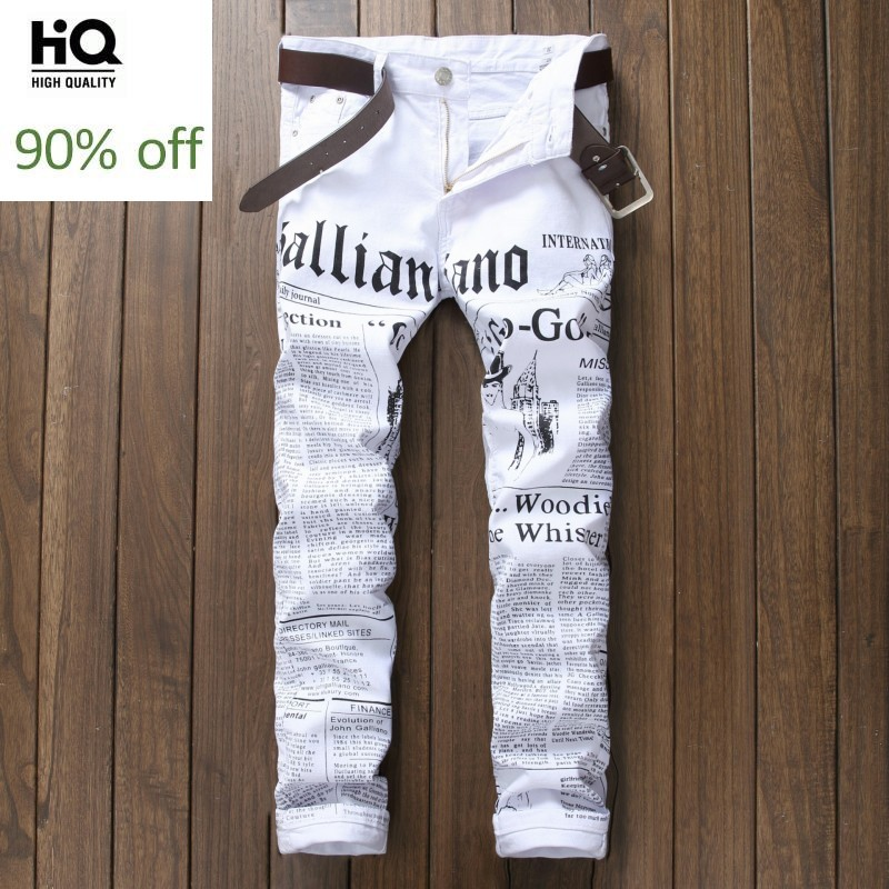 Korean Style Fashion Brand 2020 White Print Jeans For Male Straight Slim Fit Casual Denim Pants Motor Men's Trousers Vetements