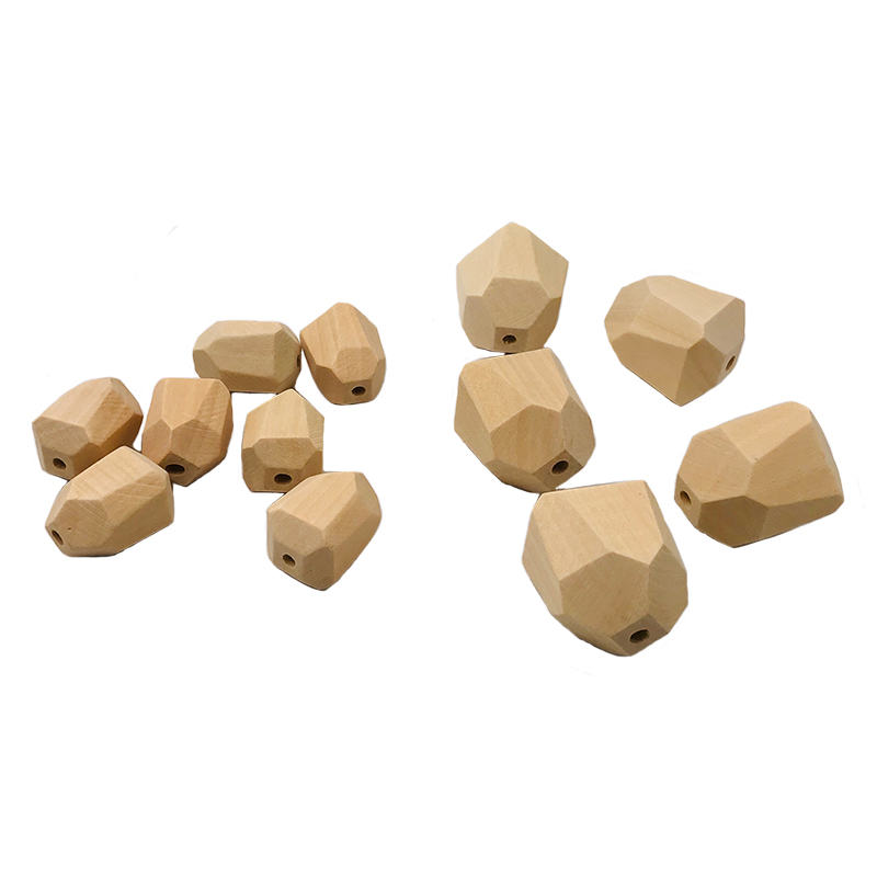 10pc Safety Wooden Chewable Faceted Beads Ecofriendly Crude Beads DIY Craft Jewelry Baby Pacifier Chain Accessories Baby Teether