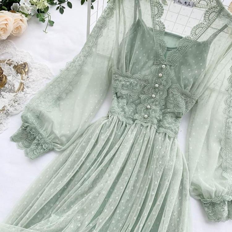 Lace Floral V-Neck Long Sleeve Polka Dot Dress 27