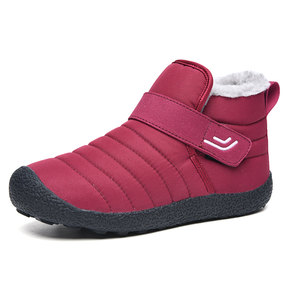 Winter Women's Snow Boots Fur Lined Ankle Boots Casual Warm Non Slip Footwear Slip On Flat Shoes Botas Mujer D30 - Цвет: Роза