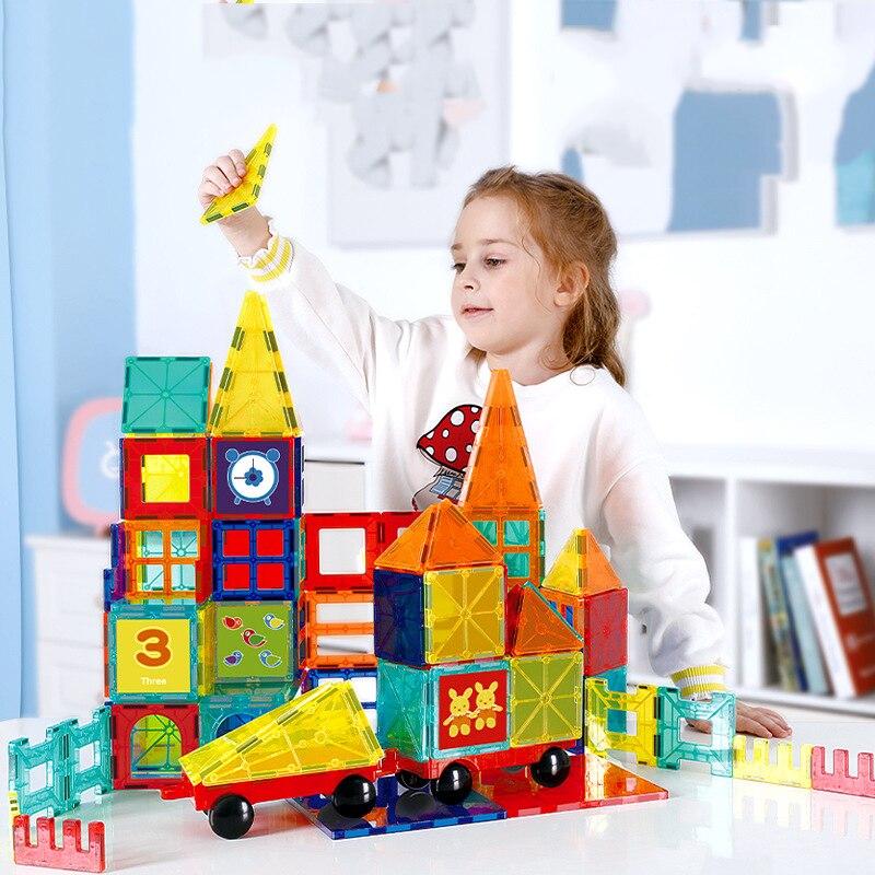 Magnatiles yapı taşları tuğla manyetik fayans oluşturucu teknik oyunları mıknatıs oyuncak modeli eğitici oyuncaklar çocuk hediye için