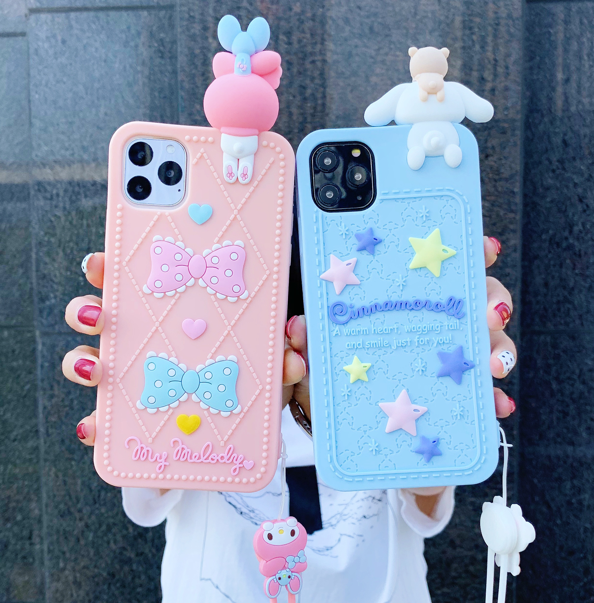 3D For Iphone 12 Mini 11 Pro Max 7 8 Plus X XR XS Max Cute Cartoon Pink Melody Soft Silicone Phone Case Cover With Lanyard