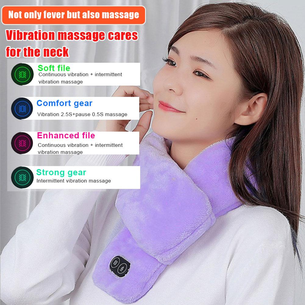 Зима USB с подогревом шарф шаль внешняя торговля умный нагрев однотонный цветной вибрация массаж шарф коричневый для мужчин и женщин