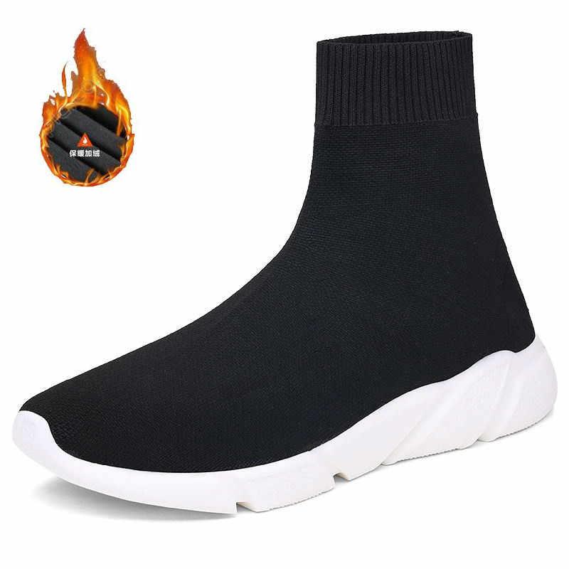 Outono alta superior tênis das mulheres dos homens quente forro de pelúcia sapatos de inverno moda meias botas homem grosso sapatos esportivos zapatos de hombre