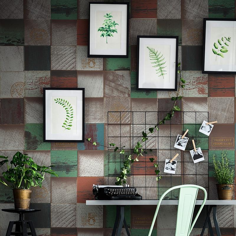 PVC HD motif coeur blocs de bois papier peint antique 3D grain de bois vêtements magasin restaurant fond mur art décoration de la maison - 3
