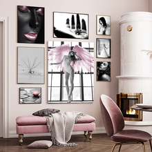 Pink Flower Angel Wing Picture Scandinavian Fashion Poster Nordic Print Wall Art Canvas Painting Modern Living Room Home Decor