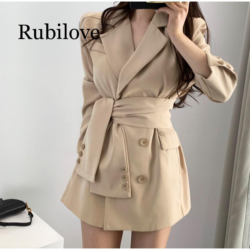 Rubilove 2019 Autumn Winter Women's Blazers Sashes Lace Up Formal Long Jackets Notched Outerwear England Style Ladies Tops New