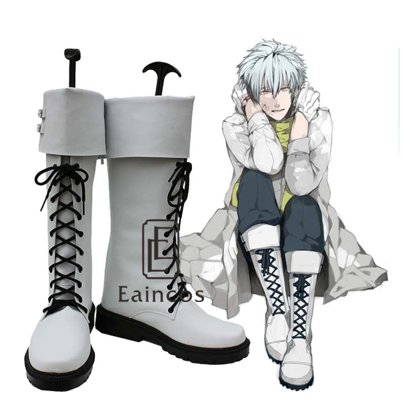 Anime DMMD Dramatical Murder Clear White Boots Cosplay Shoes Custom Made