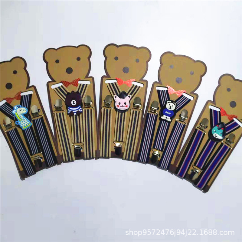 Cute Cartoon Bear Children Striped Design Suspenders Baby Boys Suspenders Clip-on Y-back Braces Elastic Kids Suspenders Gift