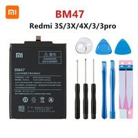 Xiaomi Redmi 3S 3X Redmi 4X Redmi 3 / 3pro BM47 교체 용 배터리 + 도구 용 Xiao mi 100% Orginal BM47 4100mAh 배터리