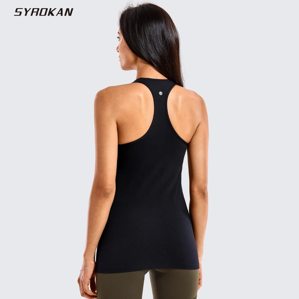 SYROKAN Women's Yoga Brushed Tank Tops With Built In Bra Racerback Activewear Sports Shirts