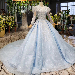 Image 3 - BGBW 2020 Long Sleeves Dresses Deep V Neck Beam Light Blue Heap Girl Beauty Pageant Dress Party Dresses Hollow Out Back