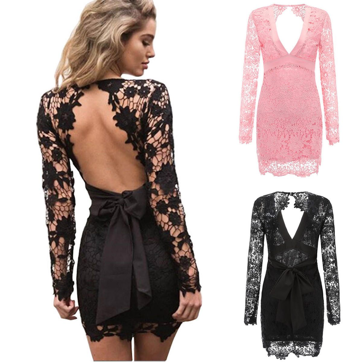 BacklakeGirls Sexy Short Cocktail Dresses Deep V Neck Shealth Long Lace Sleeve Min Party Gowns Abiye Gece Elbisesi 2019