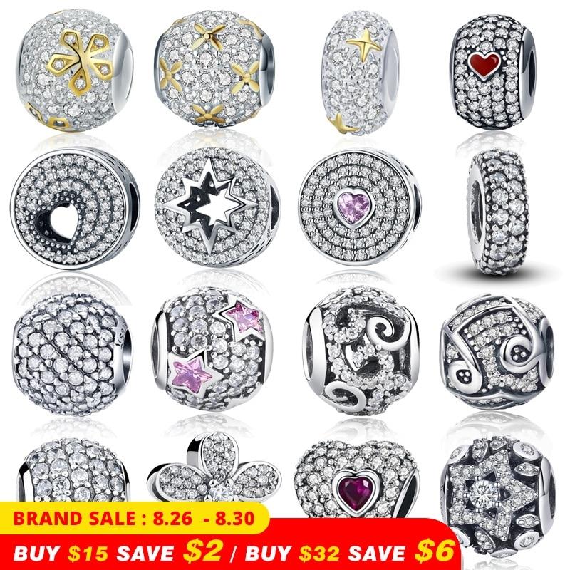 WOSTU Charm-Beads Jewelry Pendants Bracelet Clear CZ 925-Sterling-Silver Original 100%Authentic