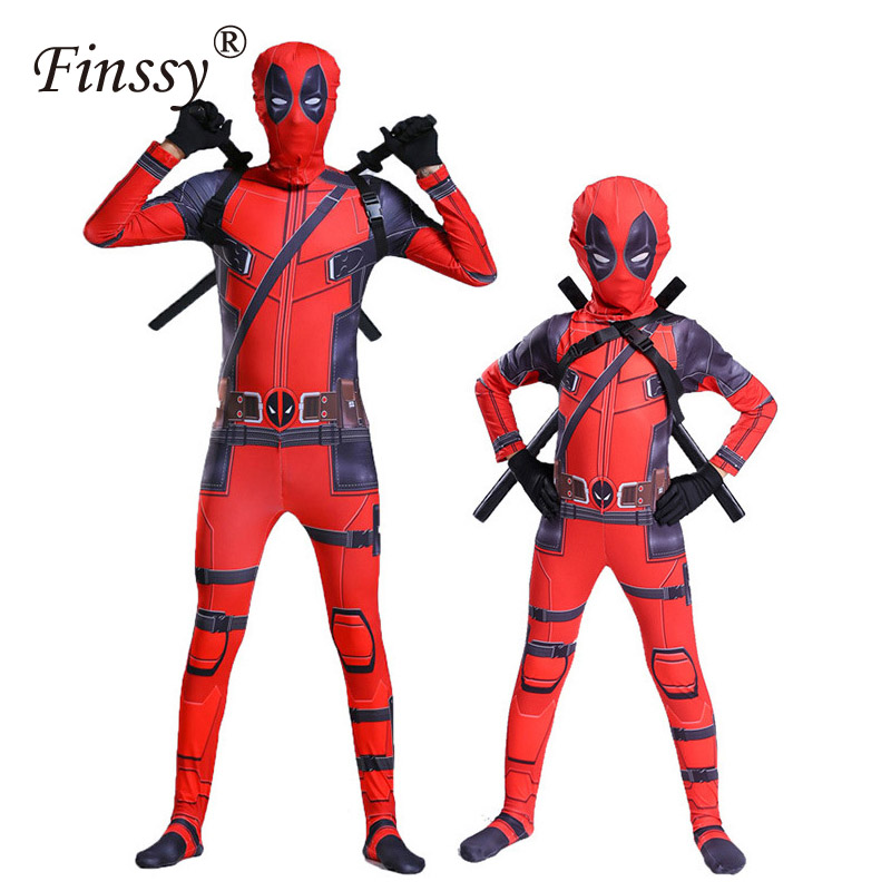 Movie Hero Deadpool Cosplay Tight Bodysuit Halloween Couple Parent-child Carnival Costume Wooden Double Knife