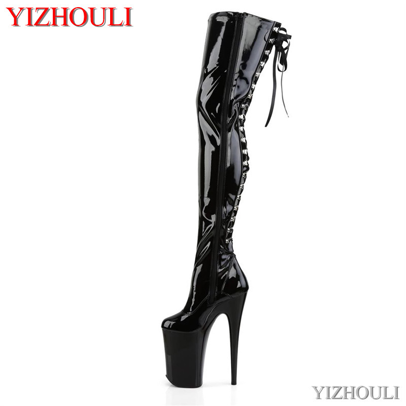 9 inches above the knee and thigh high boots 23 cm heels for women, after the thin belt sexy club pole dancing boots