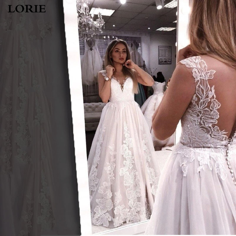 LORIE Boho Wedding Dress Sleeveless Appliqued Lace Bride Dress V Neck Princess Wedding Gowns Vestidos De Novia