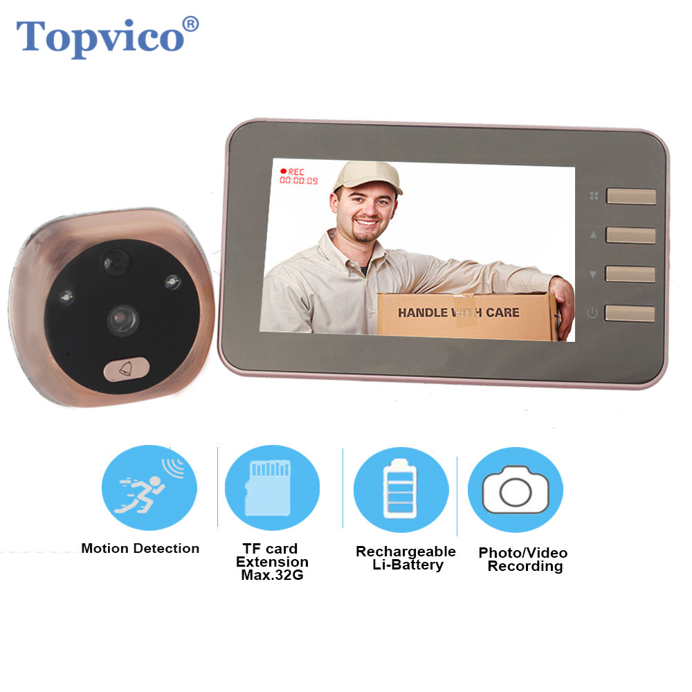 Topvico 4.3 Inch Motion Detection Video Camera Door Peephole Doorbell Electronic Ring Video eye Viewer Auto Photo Video Record-in Doorbell from Security & Protection