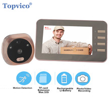 Topvico 4.3 Inch Motion Detection Video Camera Door Peephole Doorbell Electronic Ring Video eye Viewer Auto Photo Video Record