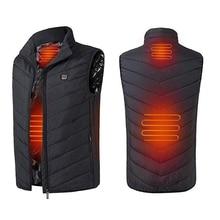 Зимний умный самонагревающийся жилет, хлопковая стеганая одежда, однотонный жилет без рукавов, мужской жилет с зарядкой от usb, бархатная мужская куртка