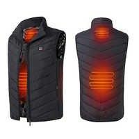 Hiver Smart auto-chauffage gilet vêtements rembourrés de coton couleur unie sans manches gilet hommes USB charge Plus velours veste hommes