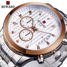 Recompensa relógio de quartzo masculino cronógrafo branco relógio calendário exibição à prova dwaterproof água relógios relojes hombre