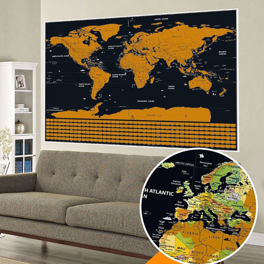 42*30 CM Scratch World Map On The Wall Wall Decor Poster Retro Map Globe With Country Flag Decoration For Office School Maps