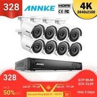 ANNKE 8CH 4K Ultra HD POE sistema de vídeo de red de seguridad 8MP H.265 NVR con 8X 8MP 30m EXIR visión nocturna cámara IP impermeable
