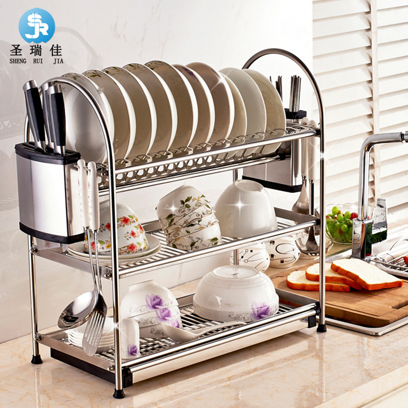 Shengruijia Manufacturers Direct Selling 304 Stainless Steel Delicacy Kitchen Shelves Tableware Storage Water Draining Dish Rack