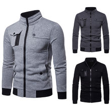 Novo outono e inverno tamanho europeu jaqueta masculina quente casual zíper multi-bolso fino jaqueta masculina malhas masculino 2021