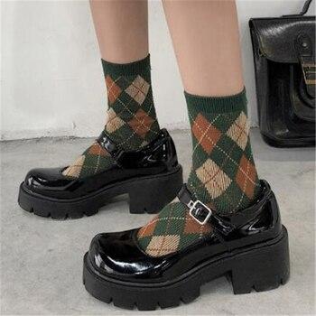 Zapatos de tacón alto para mujer, cuñas de plataforma a la moda, lolita, mary jane, marca de diseñadores
