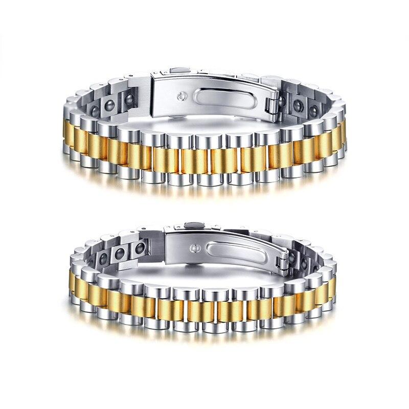 Black Hematite Magnetic Therapy Watchband Bracelet for Men Stainless Steel Link Bracelets Gift for Him Her