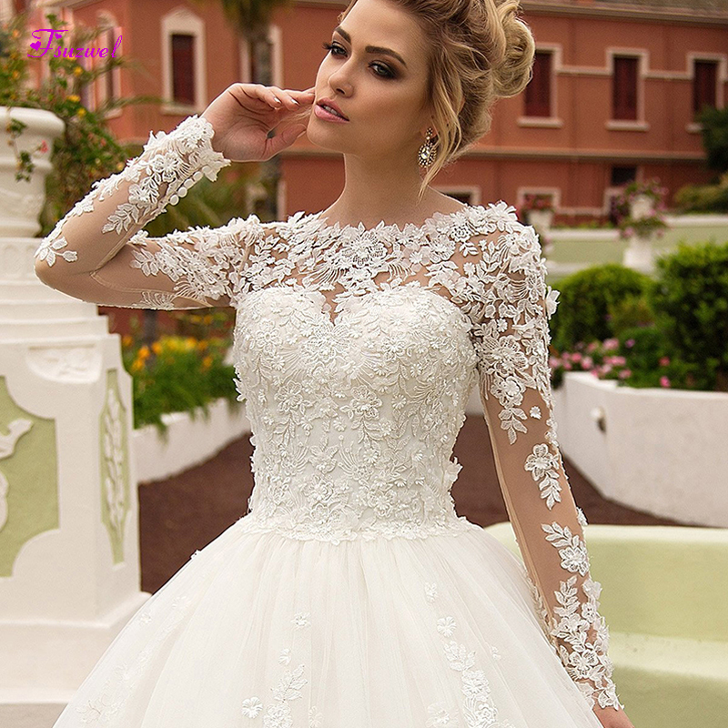 Fsuzwel Wedding-Dresses Bridal-Gown Charming Scoop-Neck Appliques Long-Sleeves Princess title=
