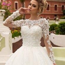 Fsuzwel 새로운 챠밍 아플리케 긴 소매 a 라인 웨딩 드레스 2020 럭셔리 스쿠프 넥 레이스 업 공주 브라 가운 플러스 사이즈