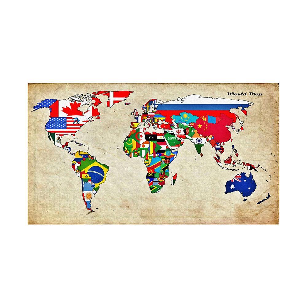 150x100cm não-tecido diy mapa do mundo feito com bandeiras nacionais padrão para decoração de parede