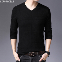 AIRGRACIAS 2019 Autumn Casual Men Sweater V-Neck Plaid Slim Fit Knittwear Mens Sweaters Pullovers Pullover Pull Homme M-4XL