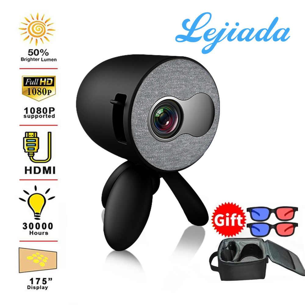 LEJIADA YG220 mini projektor obsługuje telefon komórkowy z tym samym ekranem 1080P projektor multimedialny odtwarzacz wideo prezent dla dzieci