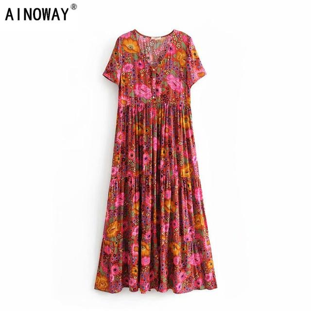 فستان نسائي طويل كلاسيكي أنيق مزين بالدانتيل بطباعة الأزهار على الشاطئ بتصميم بوهيمي فستان سيدات صيفي بوهو من رايون