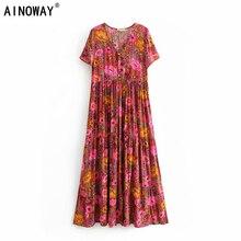 Vintage chic women  lace up floral print beach  Bohemian Maxi dress Ladies rayon Summer Boho dress vestidos