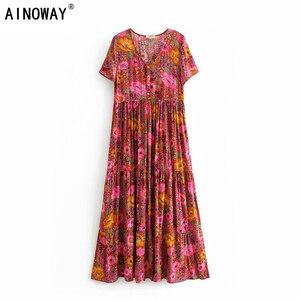 Image 1 - Vintage chique feminino laço up floral impressão praia boêmio maxi vestido senhoras rayon verão boho vestidos