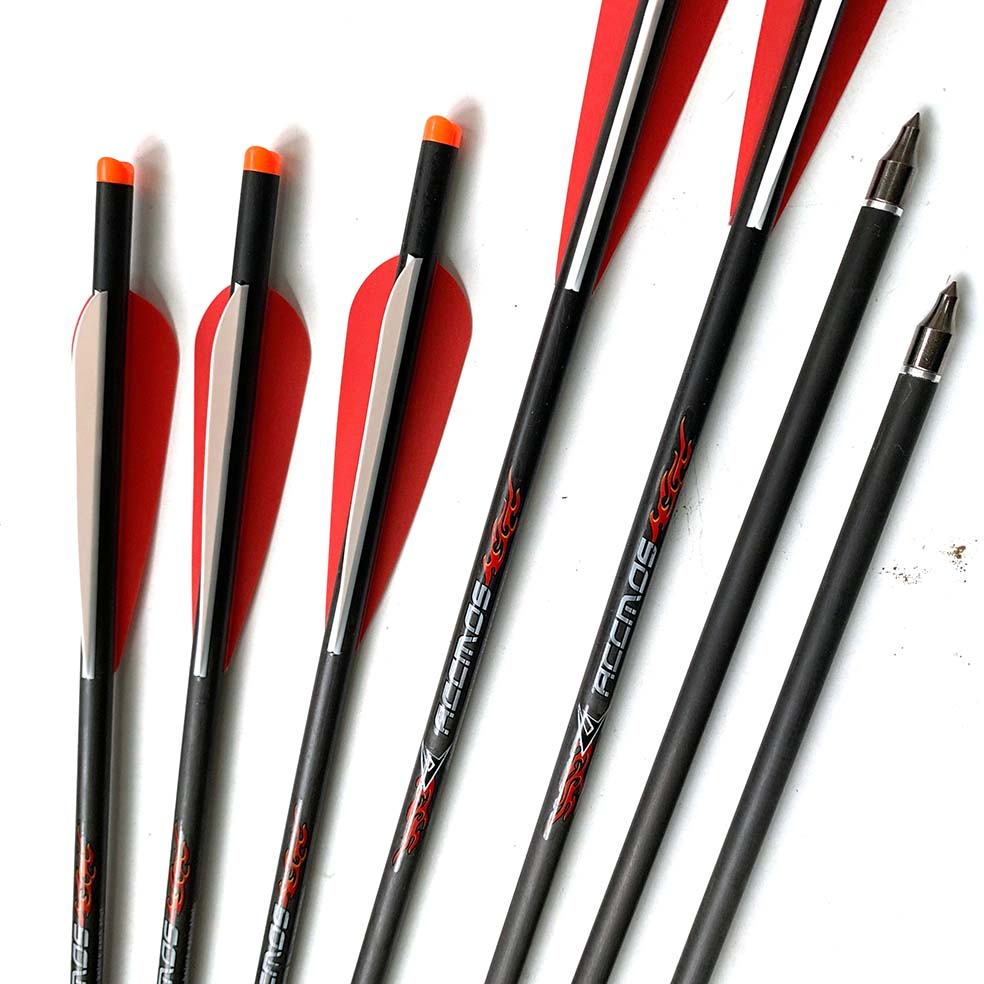 6/12pcs 20 Inches Crossbow Pure Carbon  Arrow  OD 8.7mm ID 7.6mm With 2 Red 1 White Feather  For Archery Hunting Shooting