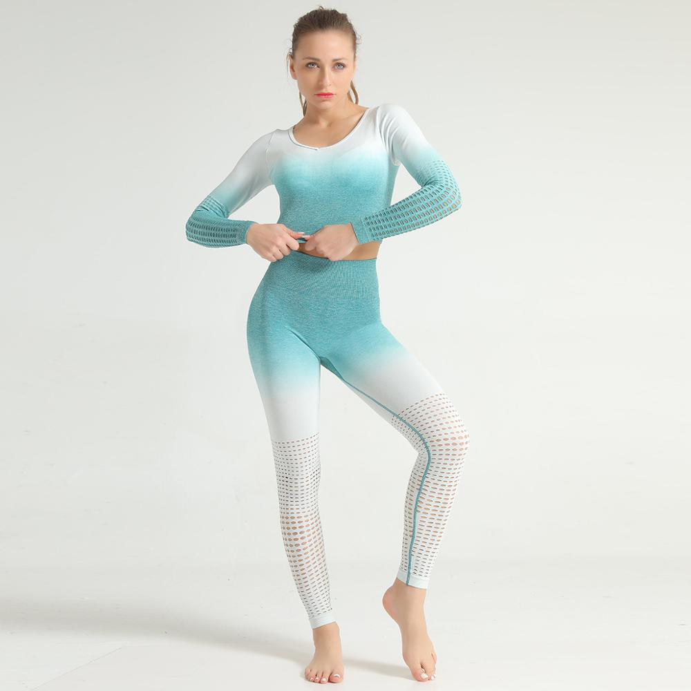 New Arrival Women Sportswear Sexy V-Neck Crop Top and Leggings Gym High Waist Elegant Hollow Out 2 Piece Set Girls Fitness Pants 1