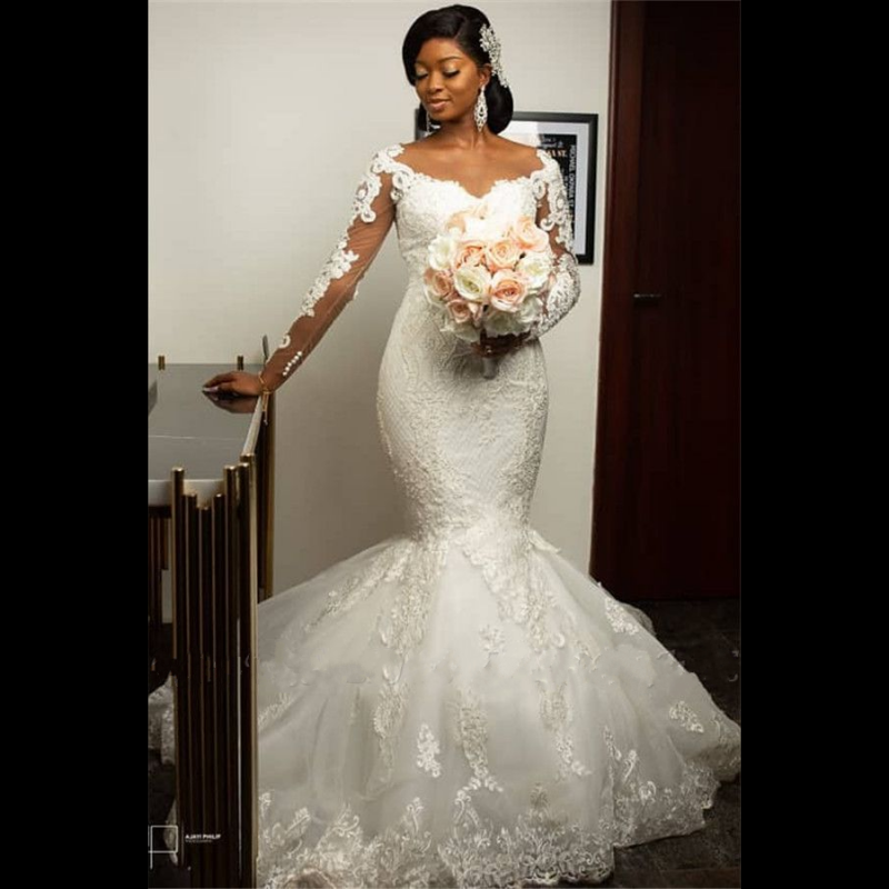 2020 Fashion African Mermaid Wedding Dresses Full Sleeve Lace Applique Bridal Gowns Illusion Back Bridal Dress Robe De Soiree
