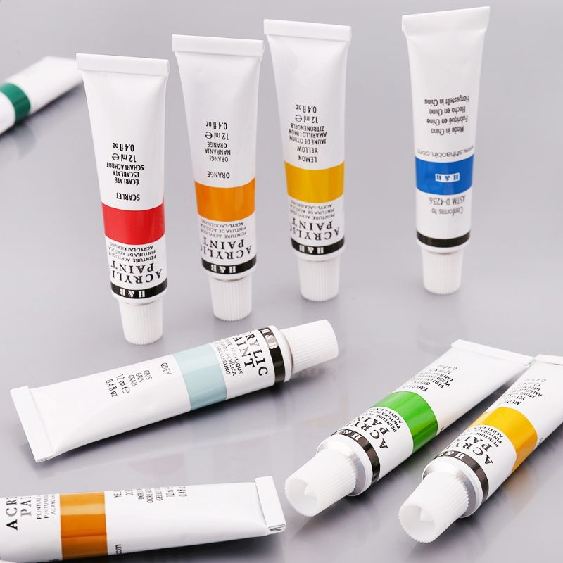 24 Colors Acrylic Paints Set 12ml Tubes Drawing Painting Pigment Hand-painted Wall Paint For Artist DIY