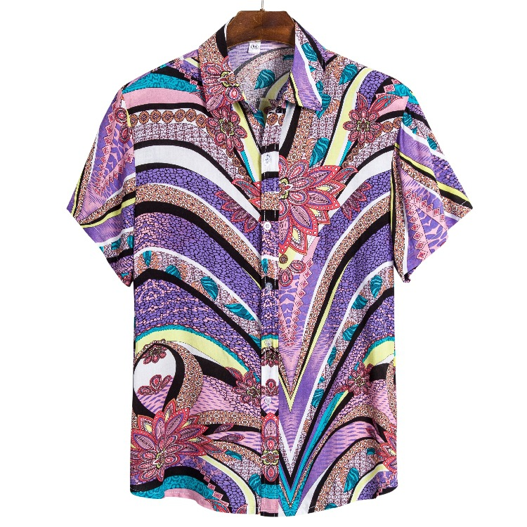 2020 Men Torrid Zone Hawaii Style Printed Shirt Youth Fashion Casual Printed Beach Short Sleeve Fold-down Collar Shirt