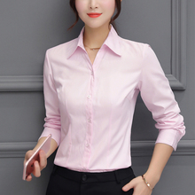 Women Shirts Elegant Long Sleeve Cotton V-Neck Shirt Plus Size 5XL Blouses OL Work Tops