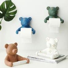 Смола медведь настенный держатель для туалетной бумаги туалетная